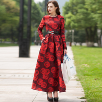 High Quality Newest Fashion Runway Maxi Dress Women S Long Sleeve Printed Designer Long Dress Plus