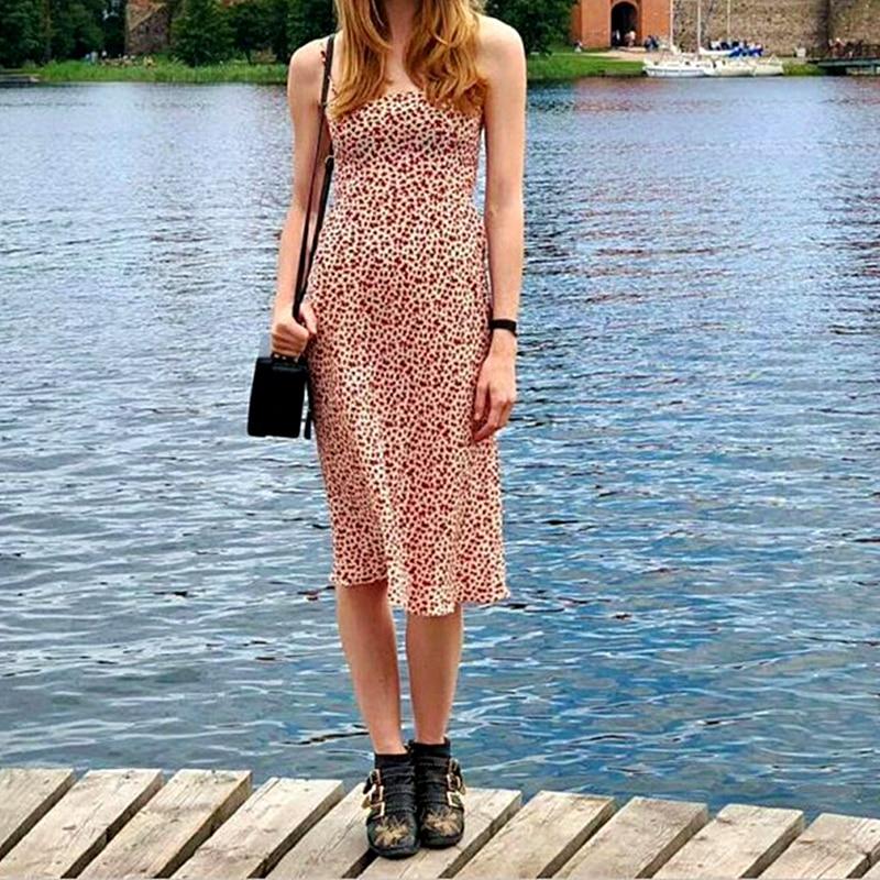 100 Silk Women Flower Print Sleeveless Dress Spaghetti Strap Fresh Long Dress
