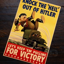 Knock The Heil Out Of Victory WWII WW2 Propaganda Poster Vintage Retro Canvas DIY