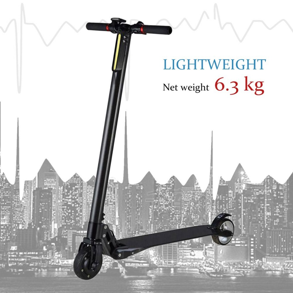 Ultra Light Carbon Fiber Portable Foldable Electric Scooter With Two Wheels Fast Speed Skateboard With LCD Display New Style 2017 new 4 wheels electric skateboard scooter 600w with bluetooth remote controller replaceable dual hub motor 30km h for adults
