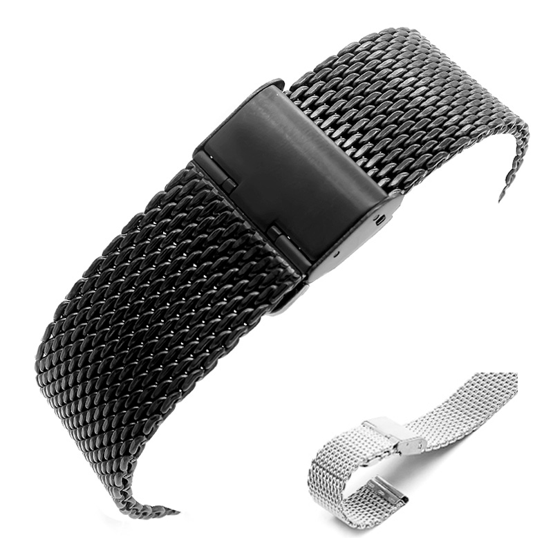 Gear S3 Frontier Classic Watch Band, 22mm Milanese black Stainless Steel Metal Buckle Replacement t Strap for Samsung Gear S3