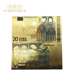 10Pcs/Lot Colorful European Banknote Currency 20 Euro Banknote in 24K Gold Foil Fake Money For Gifts(China)