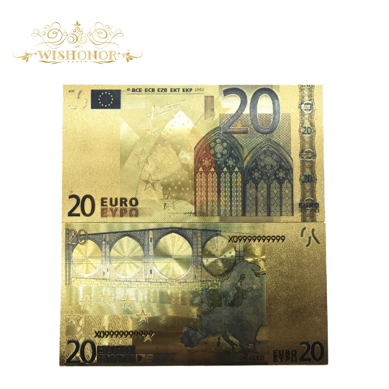 10Pcs/Lot Colorful European <font><b>Banknote</b></font> Currency <font><b>20</b></font> <font><b>Euro</b></font> <font><b>Banknote</b></font> in 24K Gold Foil Fake Money For Gifts image