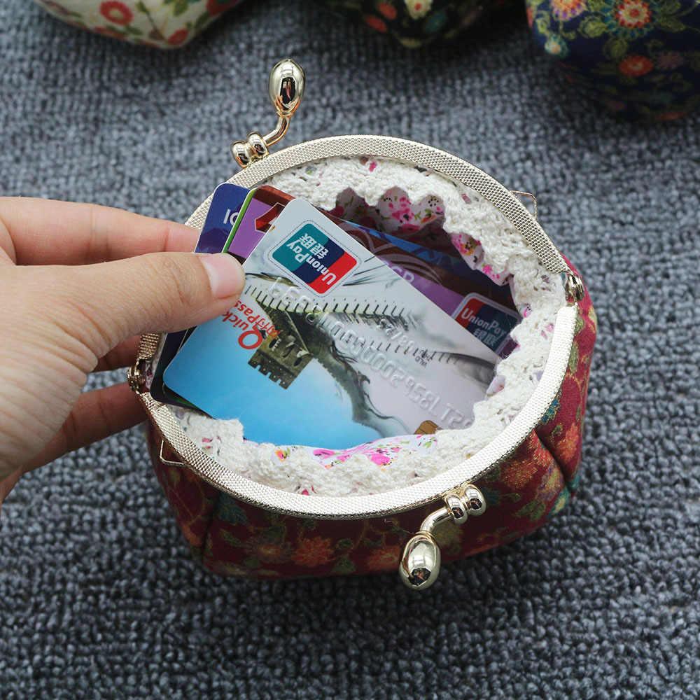Новый мини Винтаж цветы Цветочные Свадебные портмоне Поцелуй кошельки с замком обувь для девочек леди для женщин Малый Изменить Кошельки Hasp