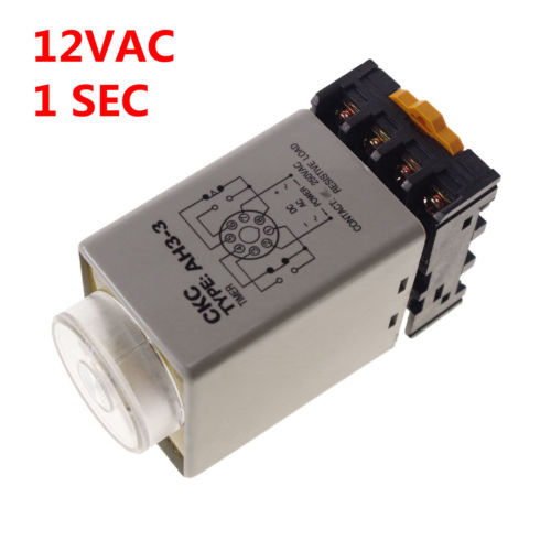 цена на 12VAC/D Power on delay Timer 0-1 second Time Relay With PF083A Socket Base AH3-3