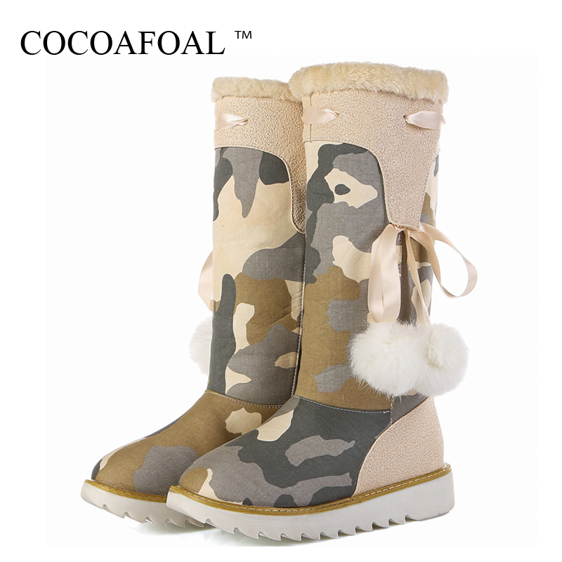 COCOAFOAL Winter Women's Height Lncreasing Snow Boots Platform Shoes Plus Size Thigh High Snow Boots Winter Plush Snow Boots platform bowkont flocking snow boots