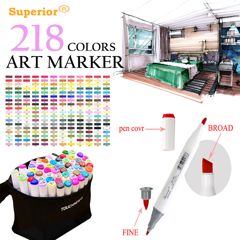 Sketch Marker Pen 218 Colors Dual Head Sketch Markers Set For School Student Drawing Posters Design Art Supplies marker book student coloring design notebook set for sketch cute draw book school marker pad supplies