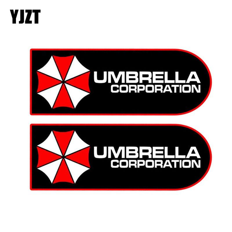 YJZT 11.7x4.5CM 2X Fashion UMBRELLA Resident Evil Retro-reflective Decal Gamer Car Stick ...