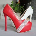 Bombas de moda de las mujeres zapatos de tacón alto tacones finos zapatos de plataforma bombas de zapatos de fiesta zapatos de boda hecho a mano blanco y rojo zapatos de Vestir