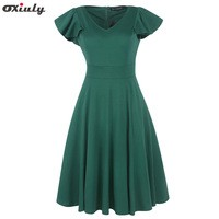 Oxiuly-Ruffle-Sleeve-Plain-Dress-Women-V-Neck-Vintage-Party-Wear-To-Work-Office-Party-Fitted.jpg_200x200