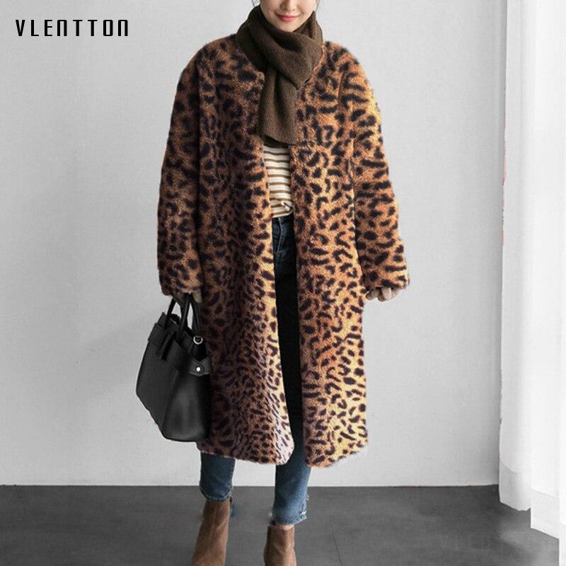 2019 Autumn Winter Korean Leopard Pink Warm Faux Fur Coat Women Elegant 7 Colors Soft Long