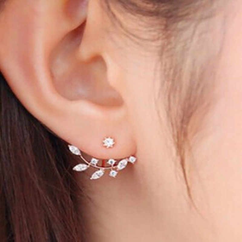 Korean Zircon elegant gold leaf leaves asymmetric crystal earrings for women Piercing Jewelry