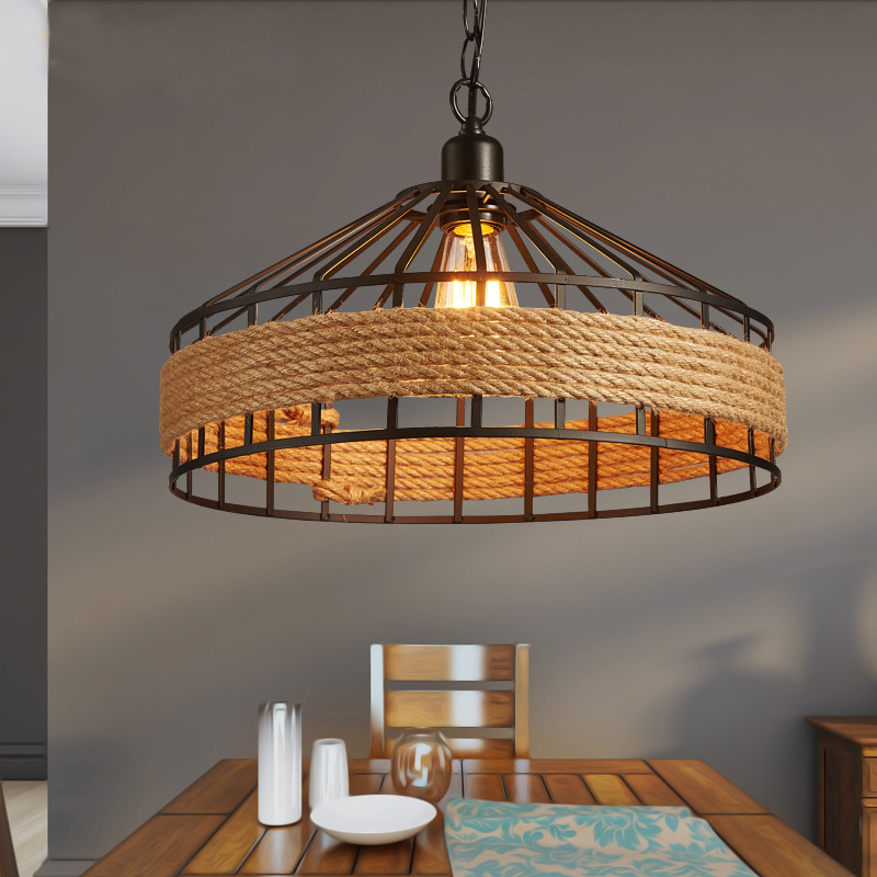 Loft Vintage Rural Pendant Lights Hemp Rope Bamboo Iron Cage Pendant Lamps Hand Knitted Lighting Fixtures Restaurant Dining ascelina vintage wicker pendant lamp hand knitted hemp rope iron pendant light loft lamps american lighting edison bulb for home