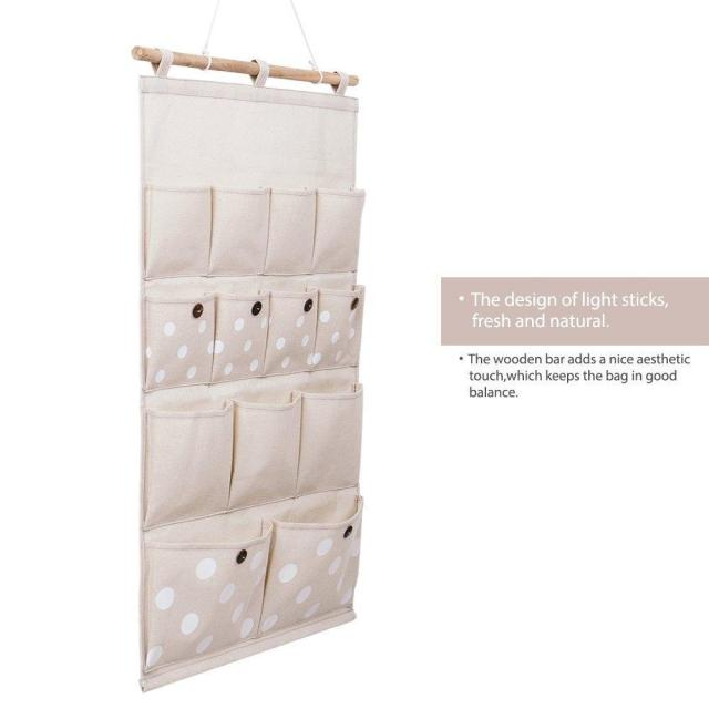 Adeeing Home Linen/Cotton Fabric 13 Pockets Wall Door Closet Hanging Storage bag organizer