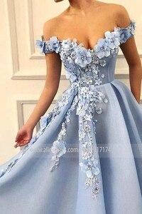 Image 4 - Fantasie 3D Blumen Prinzessin V ausschnitt A linie Prom Kleid mit Perlen Lace up Zurück Bodenlangen Party Kleid Abendkleid