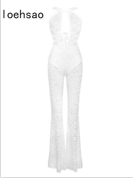 Star Rayonne Club Body Dentelle Blanc Combishort Bandage Nouvelle Mince Salopette Sexy Moulante Femmes Oawx8