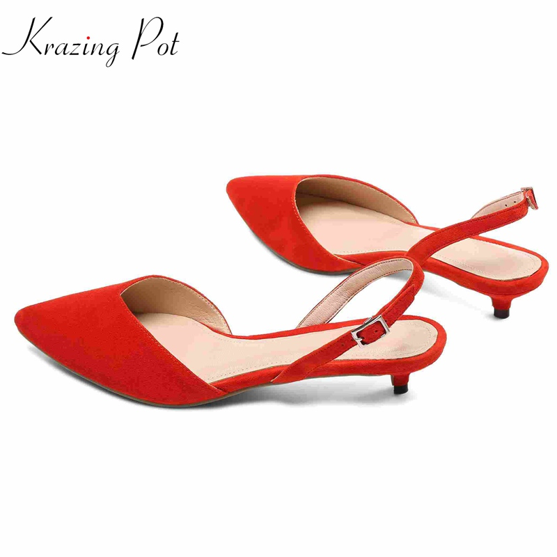 Krazing pot 2018 sheep suede pointed toe buckle straps women sandals stiletto low heels summer high fashion slingback shoes L25 цена 2017
