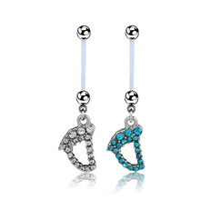 Flexible crystal Pregnant Maternity Navel Belly Ring Piercing Body Jewelry Baby Feet Belly Button Rings For pregnancy Women