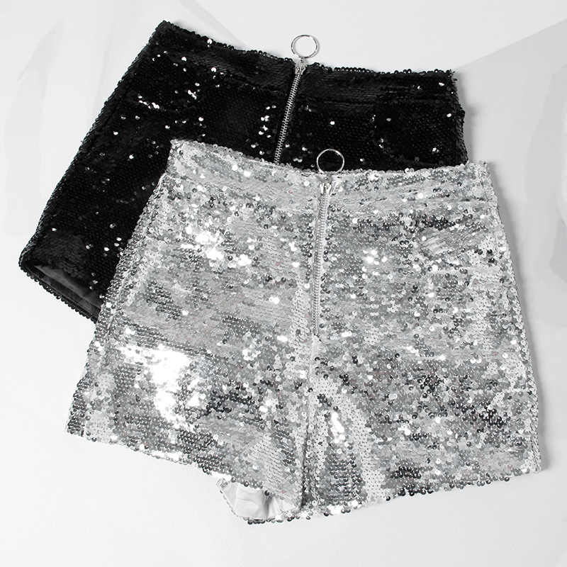 Bling Sexy Frauen Pailletten Shorts Hohe Taille O-Ring Zip Bodycon Shorts Feminino Dünne Party Club Festival Raves Pol tanz Shorts