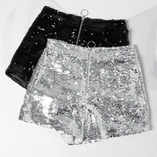 Bling Sexy Club Women Sequin Shorts High Waist O Ring Zip Front Bodycon Shorts Pockets Skinny