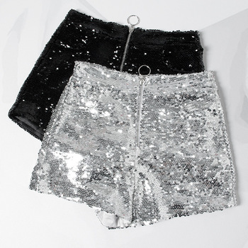 Bling Sexy Club Women Sequin Shorts High Waist O-Ring Zip Front Bodycon Shorts Pockets Skinny Party Festival Raves Dance Shorts