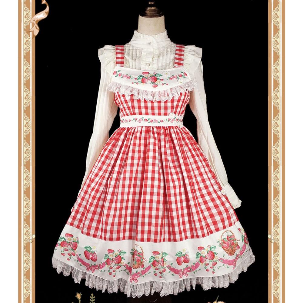 Red Plaid Strawberry Printed Lolita Cotton JSK Dress by Infanta Pre order