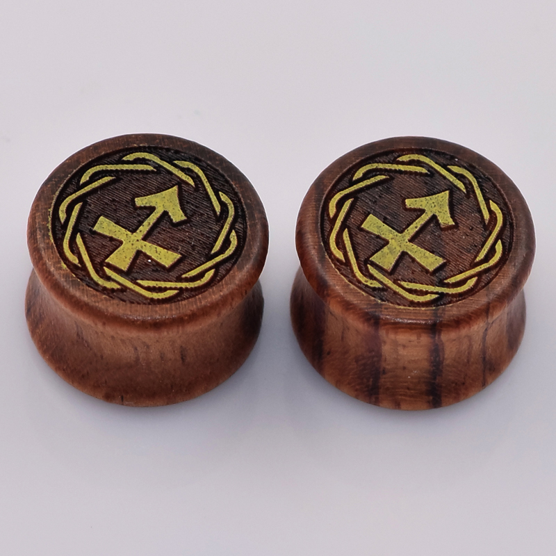 1 Pair Sagittarius Wood Double Flared Saddle Flesh Tunnels Plugs Ear Gauges Ear Stretcher Expander Earrings Ear Piercing