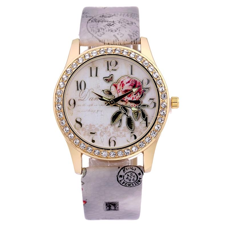 c266d2a5d35 BGG Nova Moda do Estilo Chinês Peônia Padrão Relógio Dourado Digital Quartz  Casual Relógio de Couro As Mulheres Se Vestem de Pulso Dos Desenhos  Animados ...