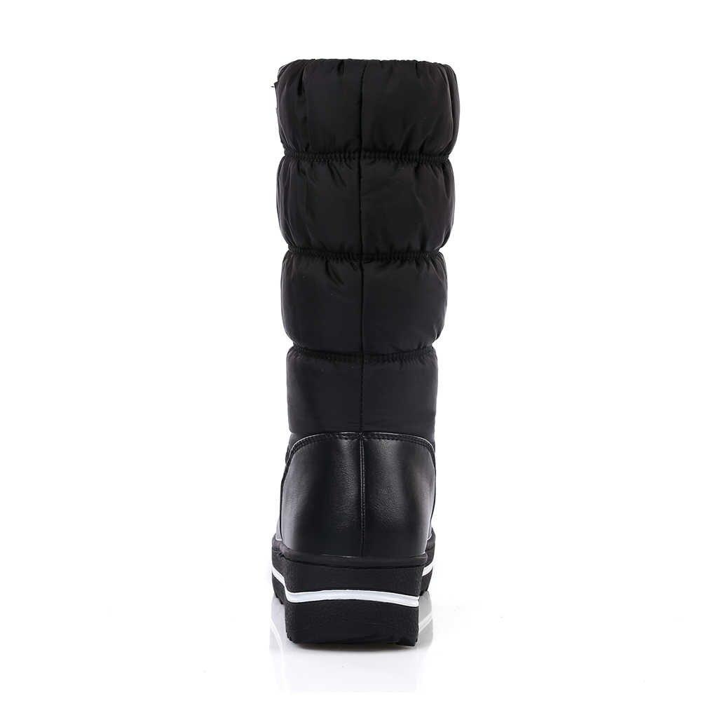 Meotina Kadın Botları Kış Peluş Aşağı Kar Botları Platformu Kama Topuk Orta Buzağı Çizmeler Pilili Ayakkabı Kadın Yeni Kırmızı artı Boyutu 42 44