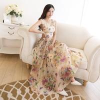Bohemian Butterfly Print Summer Tank Beach Dress Sundress Chiffon Party Dresses Vestidos Maxi Long Dress Tunic Plus Size