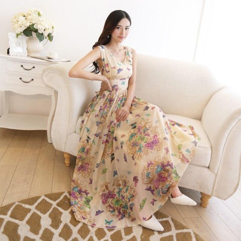 e44371409 Bohemio mariposa estampado verano tanque playa vestido de verano Vestidos  de fiesta de gasa Vestidos Maxi vestido largo túnica talla grande