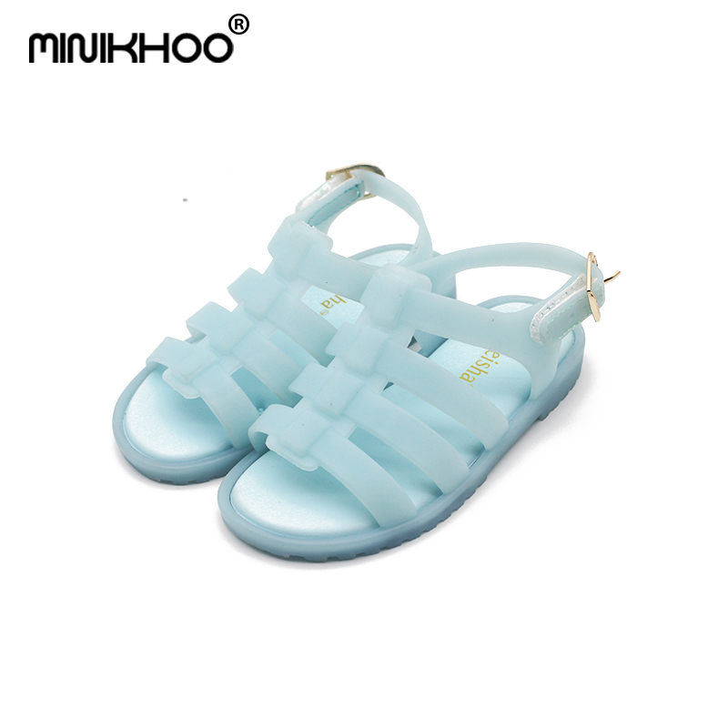 Mini Melissa 2018 New Mini Children Roman Sandals Jelly Shoes Candy Color Non-slip Sandals Breathable Girls Boy Sandals Shoes