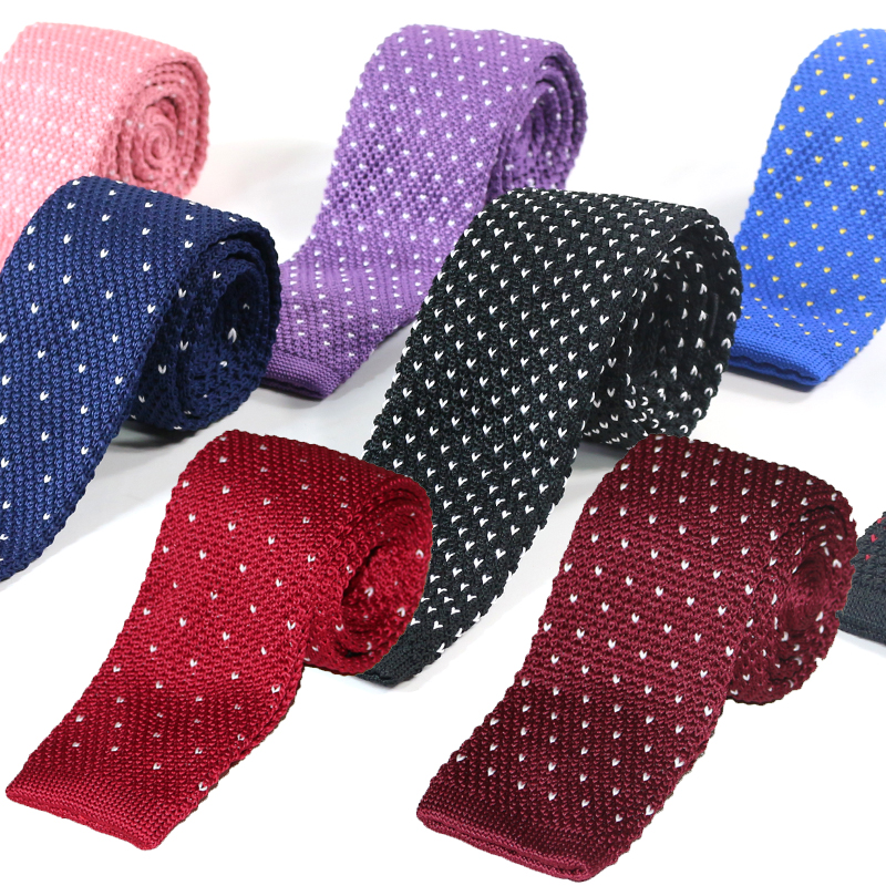 Knitted ties for men 100% Polyester Woven mens Skinny necktie for Party Business Brand Handmade Slim Neck Tie