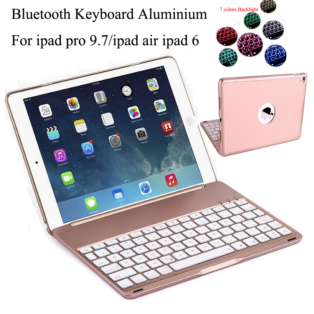 7 Colors Backlit Light Wireless Bluetooth Keyboard Case for Apple iPad Air 2 IPad PRO 9