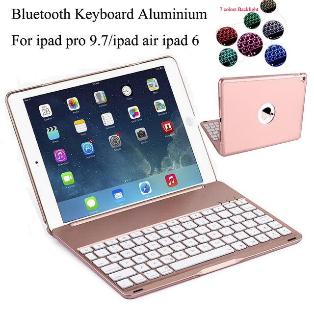7 Colors Backlit Light Wireless Bluetooth Keyboard Case for Apple iPad Air 2    IPad PRO 9.7 Russian Spanish Letther Sticker 4f41348c3c62d