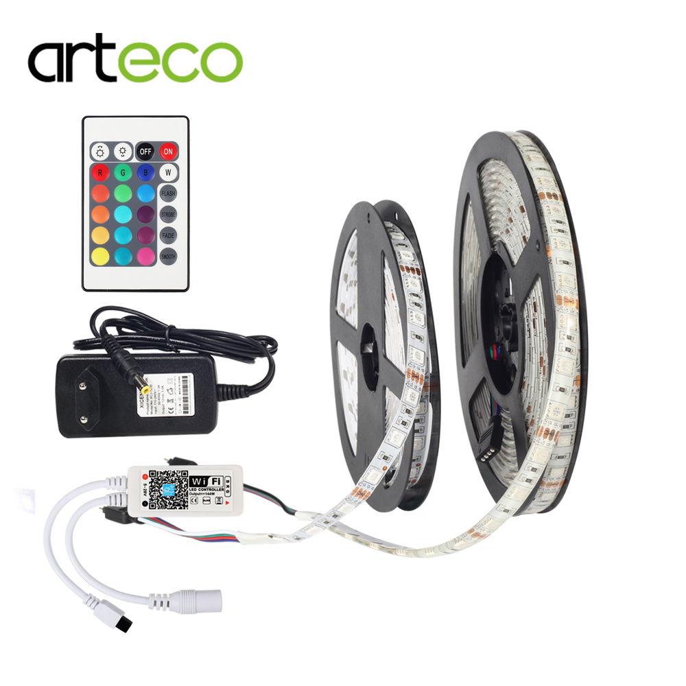 5050 RGB 24KEY Wifi Controller LED Strip light 5M 60led/m IP20/IP65 Waterproof neon Flexible Tape 12V 3A EU/US Plug adapter set