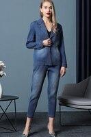 MIYAKE складки Европейский высокого класса складной набор раннюю осень большой код тонкие ковбой синий пальто + брюки Костюм 2 вещей