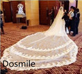 2016 Luxury Custom Made velo de novia 4 M White&Ivory Laces Edge Purfles Long Cathedral Tulle Bridal Wedding Veils Free Comb