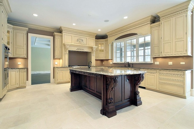 Madera de lujo muebles de cocina con molduras de corona para ...
