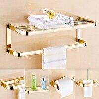 Wall Mount Brass Gold Bathroom Accessory Bath Towel Shelf Towel Bar Glass Storage Holder Toilet Brush