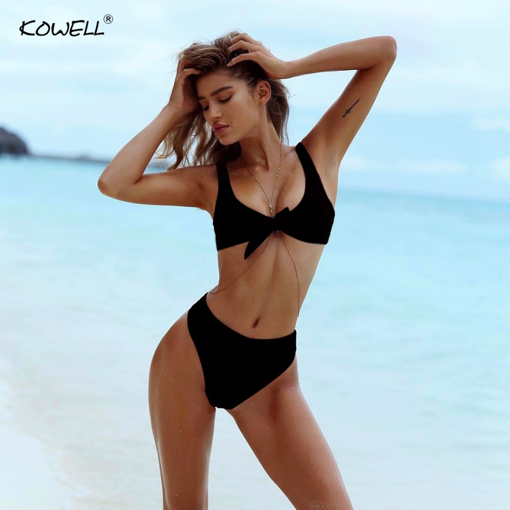Kowell Lace Up Bodysuit 2018 Summer Chic Romper Women Jumpsuit Sexy Beach Two Piece Playsuit Beachwear sexy overalls