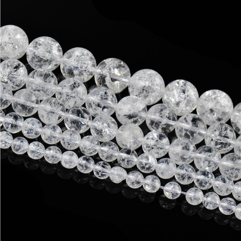 6mm White Cracked Crystal Natural Stone Round Jewelry