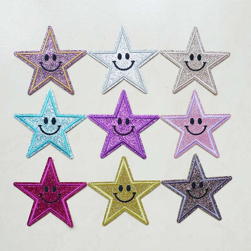 Small Star Military Embroidery Patches for Clothing Iron on Clothes Jeans Applique Smile Pentagram Badge Stripe Sticker Transfer