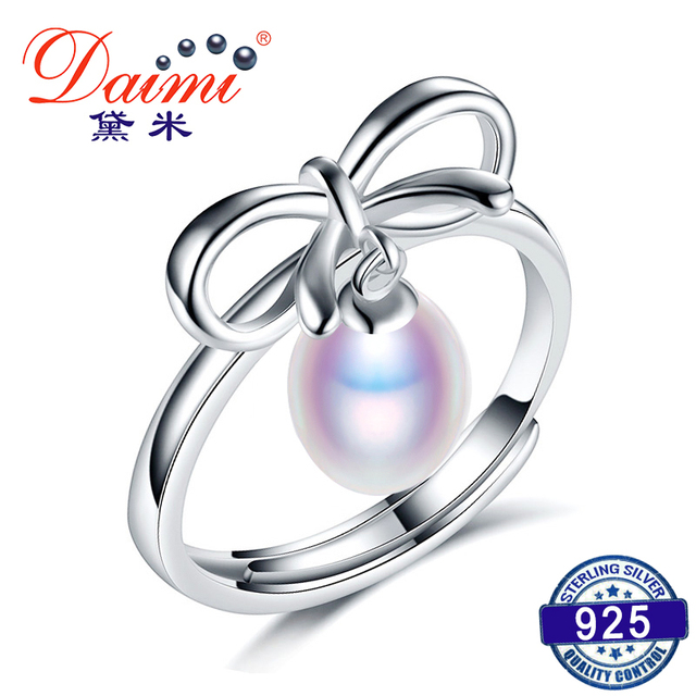 DAIMI Elegance Bowknot Ring 925 Sterling Silver Ring 7-8mm White Freshwater Pear
