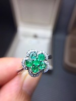 Цветок натуральный изумруд кольцо Бесплатная доставка 925 серебро 3 мм * шт. 6 шт. драгоценный камень ювелирные украшения