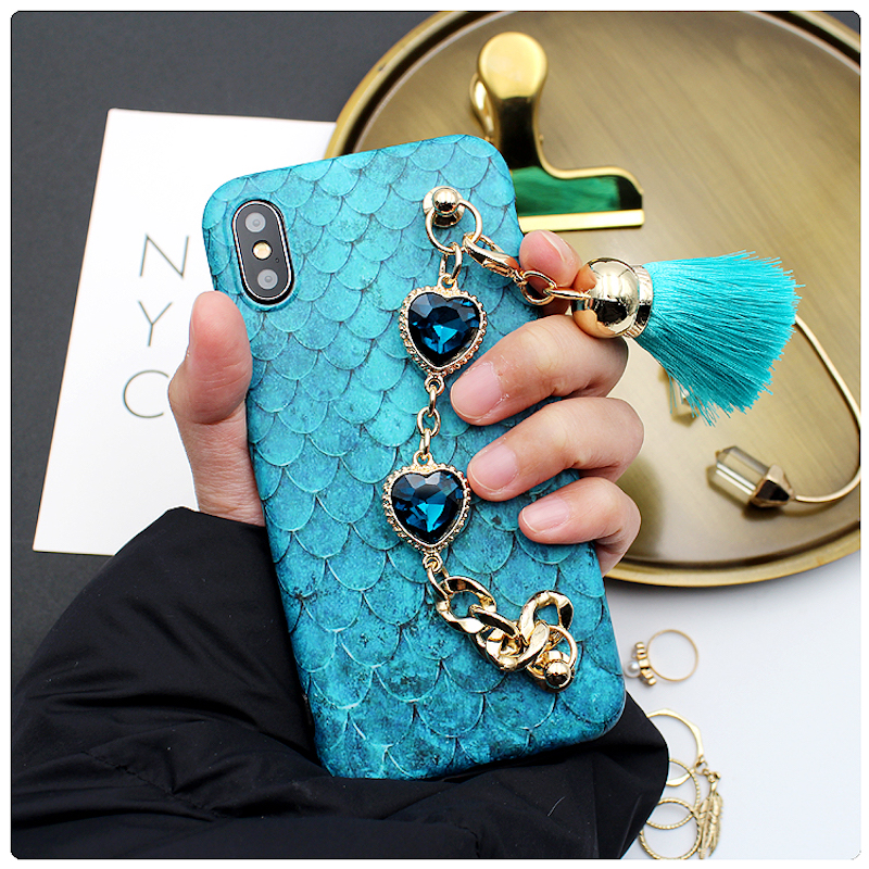 For iPhone 6 6s 7 8 plus X Luxury Vintage Fashion Diamond heart rhinestone chain tassel soft phone case cover