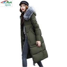 2017 New fashion Winter Women padded Coat Female Fur collar Hooded Slim long cotton Wadded Coat Women Hoodies ParkasAS293JQNZHNL