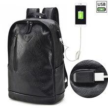 цена на PU Leather Laptop Backpack Men Women 15.6 Notebook With USB Charging Travel School Backpacks Bag Waterproof Male Vintage Bagpack