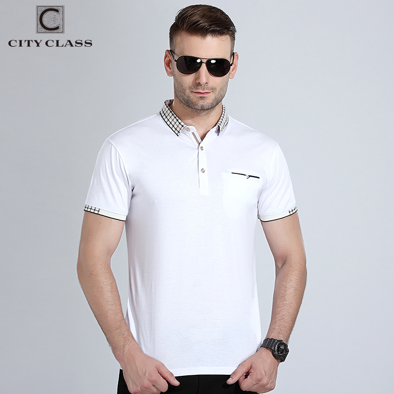 CITY CLASS New Mens Polo Shirt Double Color Pique Fabirc Short Sleeve breathable Business Fashion Casual Male polo shirt 17177