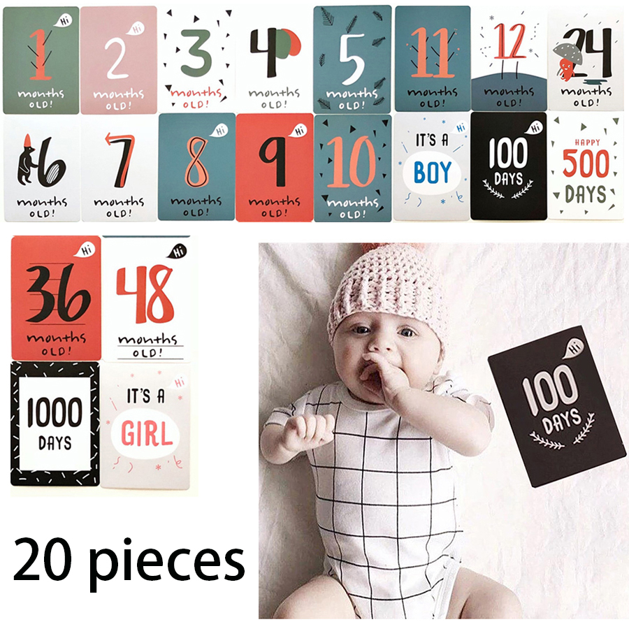 20PCS/Set Baby Month Memory & Milestone Record Cards Baby Souvenirs Supply Pregnancy Maternity Time Sticker Photography Props